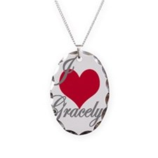 I love (heart) Gracelyn Necklace Oval Charm