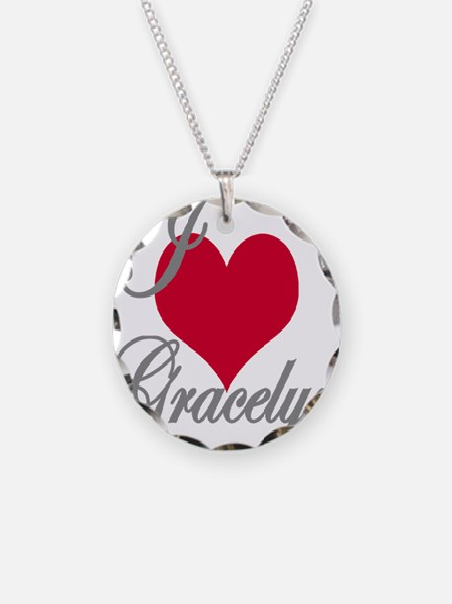 I love (heart) Gracelyn Necklace Circle Charm