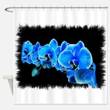 Blue orchid photo on black Shower Curtain