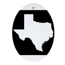 White Texas Outline Ornament (Oval)
