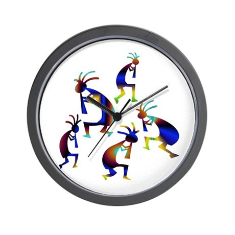 Metallic Blue Kokopelli Wall Clock