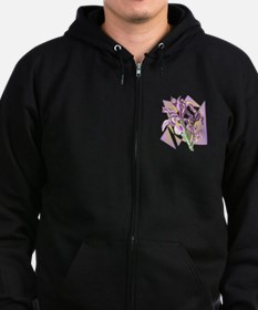 flower lilac color Zipped Hoodie