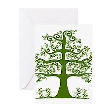 Swirl tree green Greeting Card