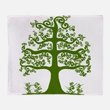Swirl tree green Throw Blanket