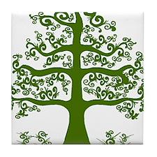 Swirl tree green Tile Coaster