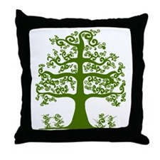 Swirl tree green Throw Pillow