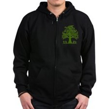 Swirl tree green Zip Hoody