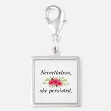 Nevertheless She Persisted Silver Square Charm