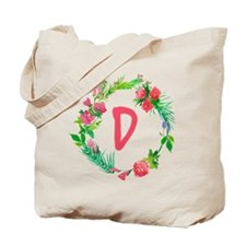 Letter D Watercolor Wreath Monogram Tote Bag