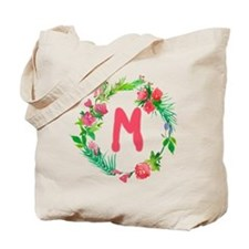Letter M Watercolor Wreath Monogram Tote Bag