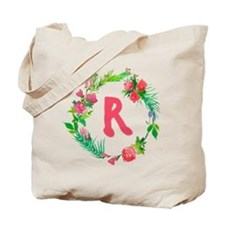 Letter R Watercolor Wreath Monogram Tote Bag