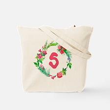 Letter S Watercolor Wreath Monogram Tote Bag