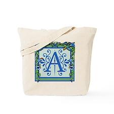Letter A Bluebells Monogram Tote Bag