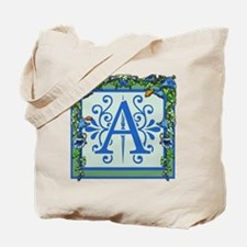 Letter A Bluebells Monogram Tote Bag