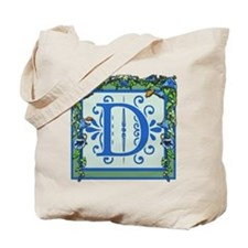 Letter D Bluebells Monogram Tote Bag
