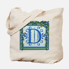 Letter D Bluebells Monogram Tote Bag