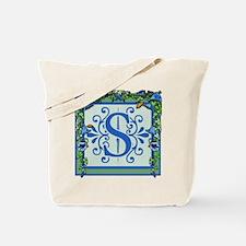Letter S Bluebells Monogram Tote Bag