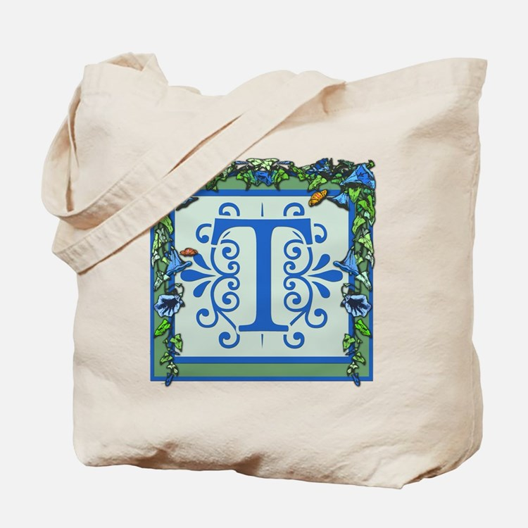 Initial T Bluebells Monogram Tote Bag