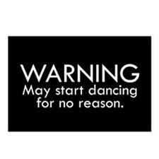 Warning: May start dancin Postcards (Package of 8)