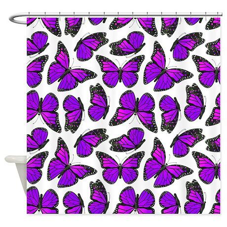 Purple Monarch Butterfly Pattern Shower Curtain By Cutetoboottoo