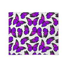 Purple Monarch Butterfly Pattern Throw Blanket