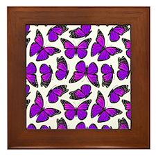 Purple Monarch Butterfly Pattern Framed Tile