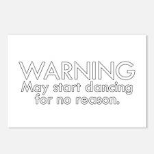 Warning: May start dancin Postcards (Package of 8)