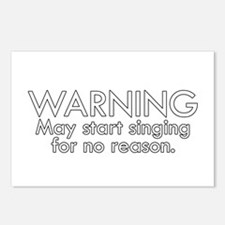 Warning: May start singin Postcards (Package of 8)