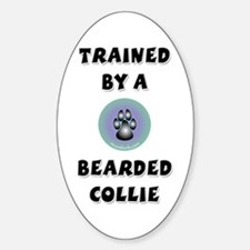 Trained by a Beardie Oval Decal