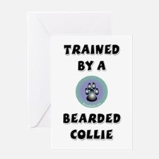 Trained by a Beardie Greeting Card
