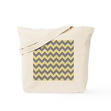 Custard Yellow and Titanium Gray Chevrons Tote Bag