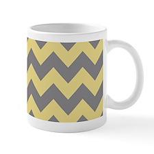 Custard Yellow and Titanium Gray Chevrons Mugs