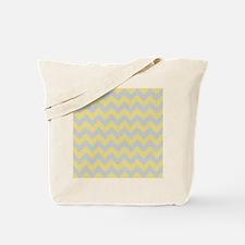 Custard Yellow and Glacier Gray Chevron Tote Bag