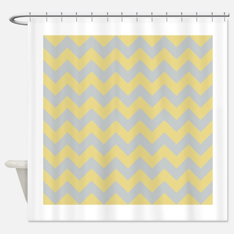 Chevron Grey And Yellow Shower Curtains | Chevron Grey And Yellow ...