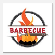 "Barbecue Flame Logo Square Car Magnet 3"" x 3"""