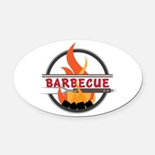 Barbecue Flame Logo Oval Car Magnet