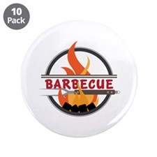 """Barbecue Flame Logo 3.5"""" Button (10 pack)"""