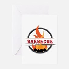 Barbecue Flame Logo Greeting Cards