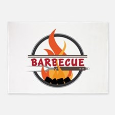 Barbecue Flame Logo 5'x7'Area Rug