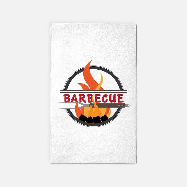 Barbecue Flame Logo Area Rug