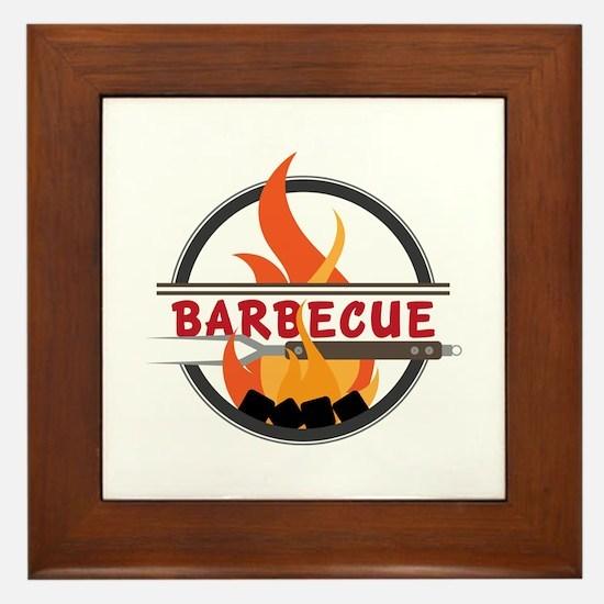 Barbecue Flame Logo Framed Tile