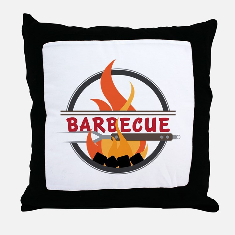 Barbecue Flame Logo Throw Pillow