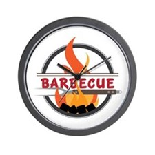 Barbecue Flame Logo Wall Clock