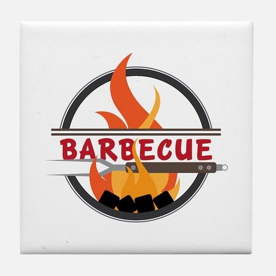 Barbecue Flame Logo Tile Coaster