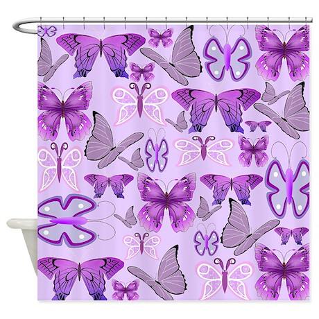 Purple Awareness Butterflies Shower Curtain By Funwithfibromyalgia