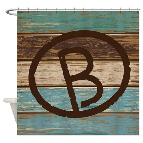 Branding Iron Letter B Wood Shower Curtain By
