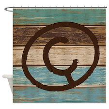 Branding Iron Letter C Wood Shower Curtain