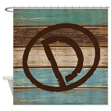 Branding Iron Letter D Wood Shower Curtain