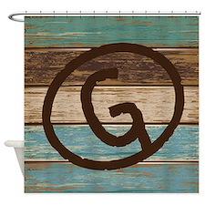 Branding Iron Letter G Wood Shower Curtain