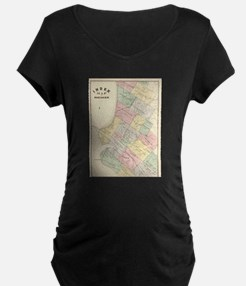 Vintage Map of Oakland Californi Maternity T-Shirt